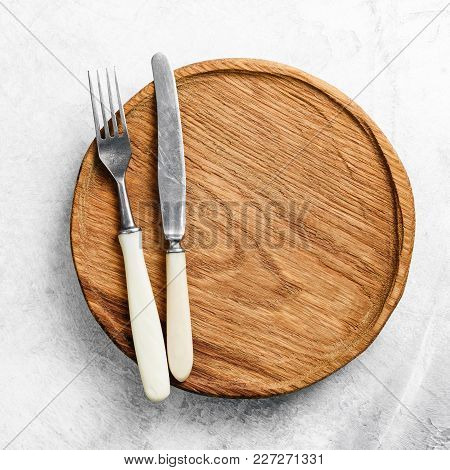Table Setting With Vintage Cutlery And Wooden Plate. Restaurant Menu, Food Advertising And Design Te