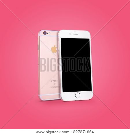 KYIV, UKRAINE - OCTOBER 09, 2017: Back and front views of Rose Gold iPhone 6s with blank screen on color background