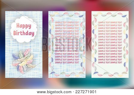 Happy Birthday Pastels Greeting Cards. Three Different Vector Patterns. Card In Shades Of Blue With
