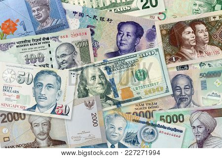 Multi Banknotes Of Different Values And Currencies, Top View Pile Of Paper Banknotes Background