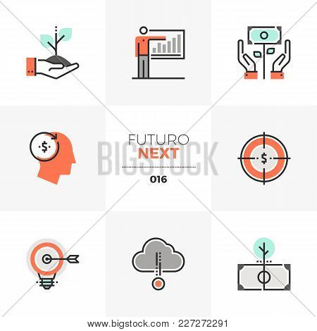 Semi-flat Icons Set Of Smart Investing And Crowdsource Capital. Unique Color Flat Graphics Elements