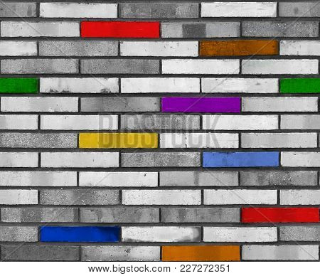 Seamless White Rainbow Brick Wall Pattern Background Texture. Rainbow Seamless Pattern.  Seamless Br