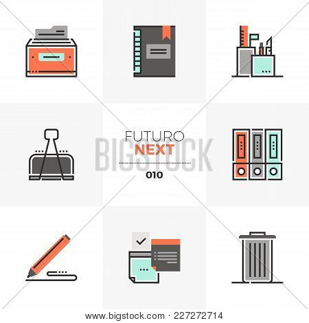 Semi-flat Icons Set Of Office Tools And Equipment, Business Papers. Unique Color Flat Graphics Eleme