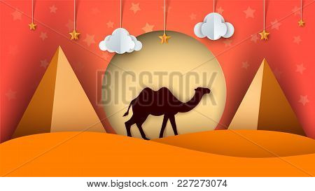 Cartoon Paper Landscape. Camel Illustration. Cloud, Star, Sun Pyramid Vector Eps 10