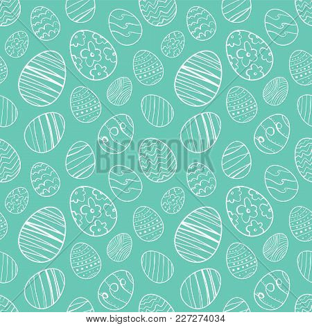 Vector Illustration: Seamless Pattern Background Of Hand Drawn Easter Eggs. Sketch Line Doodle Desig