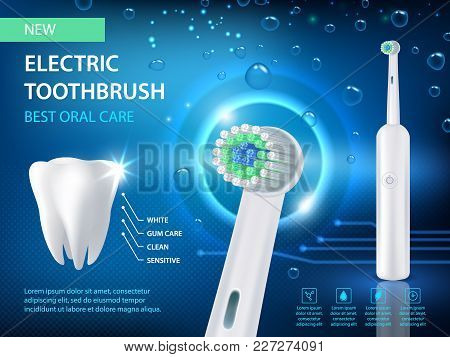 Electric Toothbrush Vector Realistic Illustration. New Electric Toothbrush Best Oral Care Ad Poster.