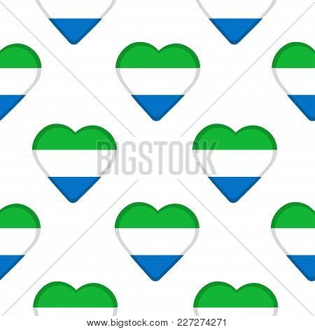 Seamless Pattern From The Hearts With Flag Of Sierra Leone. Vector Illustration