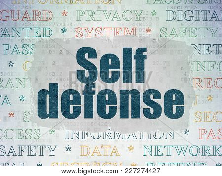 Security Concept: Painted Blue Text Self Defense On Digital Data Paper Background With   Tag Cloud