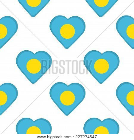 Seamless Pattern From The Hearts With Flag Of Palau. Vector Illustration