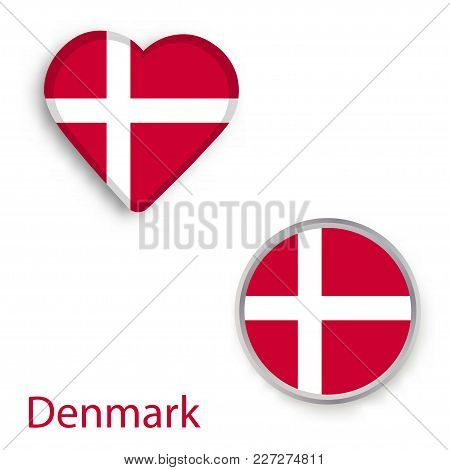 Heart And Circle Symbols With Flag Of Denmark. Vector Illustration