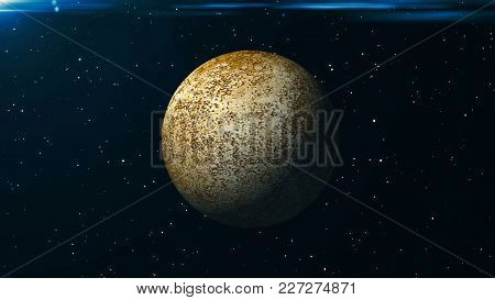 Mercury Planet. Abstract Space Background. 3d Rendering Backdrop