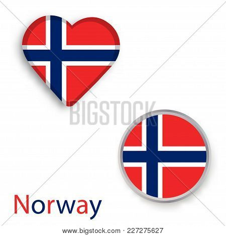 Heart And Circle Symbols With Flag Of Norway. Vector Illustration