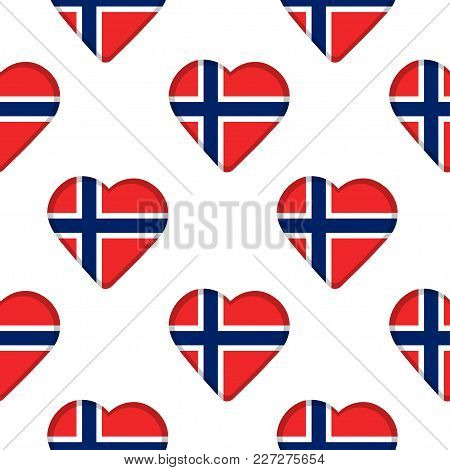Seamless Pattern From The Hearts With Flag Of Norway. Vector Illustration