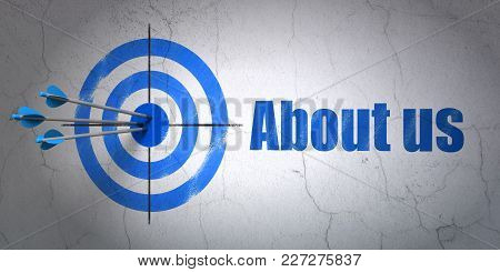 Success Business Concept: Arrows Hitting The Center Of Target, Blue About Us On Wall Background, 3d