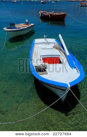 Boat near Ouranopolis, Athos Peninsula, Mount Athos, Chalkidiki, Greece