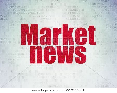 News Concept: Painted Red Word Market News On Digital Data Paper Background