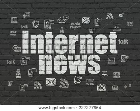 News Concept: Painted White Text Internet News On Black Brick Wall Background With  Hand Drawn News