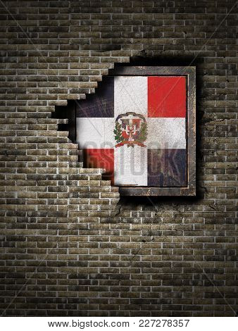3d Rendering Of A Dominican Republic Flag Over A Rusty Metallic Plate Embebed On An Old Brick Wall