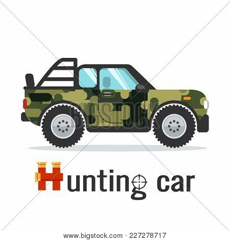 Hunting Car With Large Wheels Painted In Camouflage