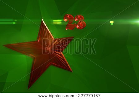 Red And Gold Star With Number 23 On White Background .