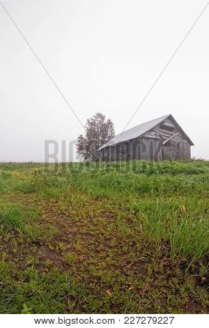 The Autumn Fog Has Covered The Scenery In The Rural Finland. The Weather Is Very Typical On The Warm