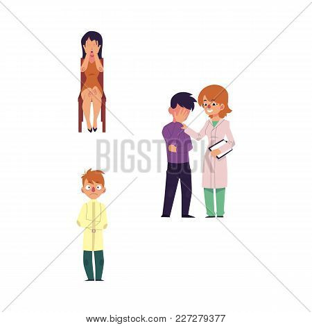 Vector Cartoon Mental Illness Set. Girl With Depression Sitting At Chair Crying, Woman Doctor Calmin