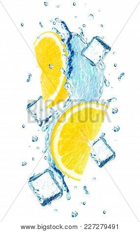 Lemon Splash Water Ice Cube Isolated On White