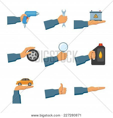 Set Of Auto Service, Maintenance Icons With Hand Holding Car, Wrench, Drill, Oil Canister, Magnifier