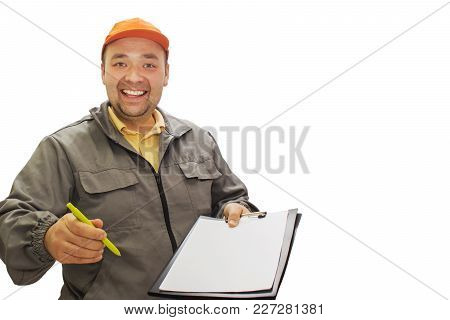 Delivery Concept-portrait Of A Delivery Person Or Courier, Showing The Form Of The Confirmation Docu