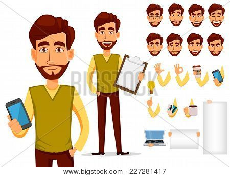 Pack Of Body Parts And Emotions. Vector Character Illustration In Cartoon Style. Business Man With B