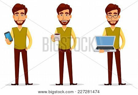 Business Man With Beard, Cartoon Character Set. Young Handsome Businessman In Smart Casual Clothes W