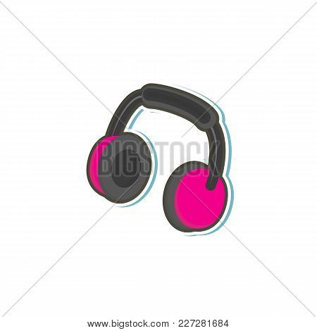 Vector Flat Pink Black Colored Stylized Headphones, Stereo Sound Headset Icon. Isolated Illustration