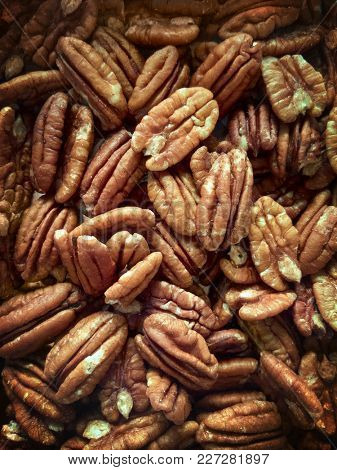 Lots of raw organic pecan nuts. Pecan background.