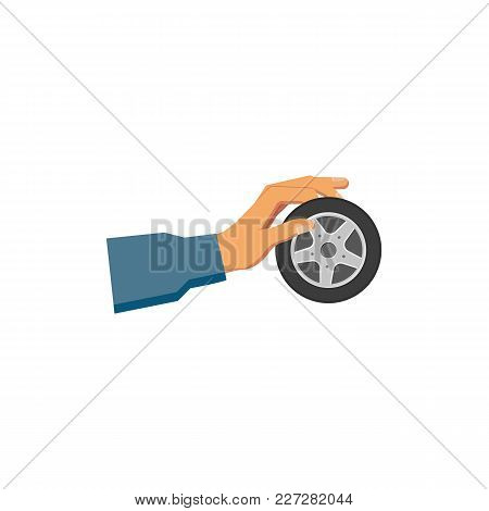 Vector Flat Car Service Design Objects Icon. Handyman, Mechanic Hand In Uniform Holding Auto Wheel W