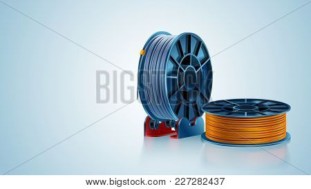 3d Printing Filament Spool Or Coil On Holder On White Background. Colored Plastic Material For 3d Pr