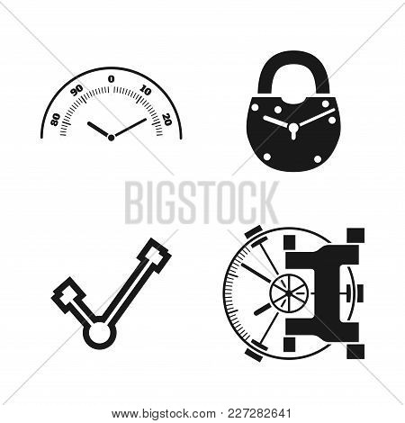 Time Locked Into The Castle And Safe. Vector Icons Set. Connected Together Safe And Clock