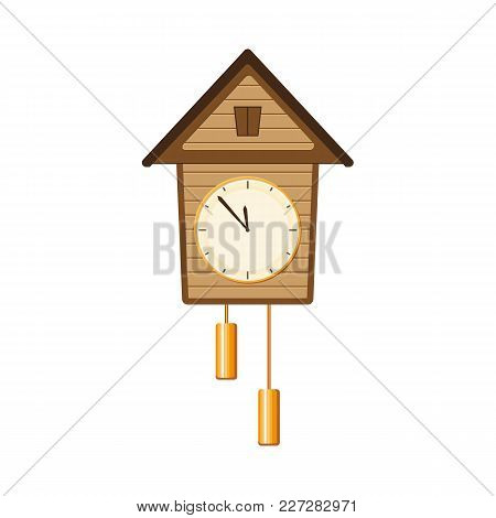 Traditional Retro, Vintage Style Cuckoo Clock With Two Weights Hanging On The Wall, Flat Style Vecto