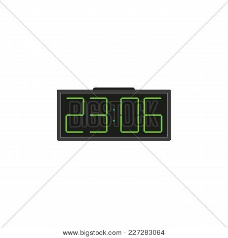 Electronic, Digital Alarm Clock With Big Numbers, Flat Style Vector Illustration Isolated On White B