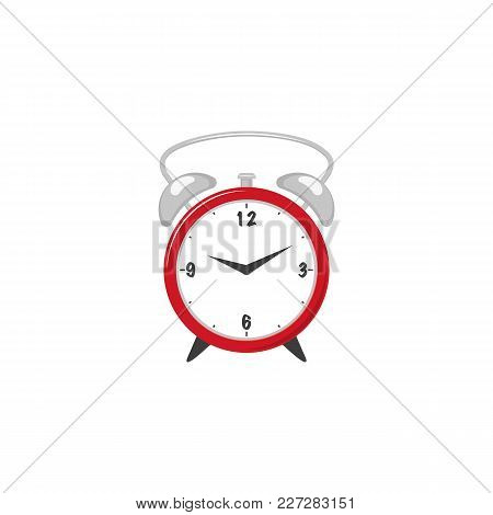 Vector Flat Analog Circle Table Red Simple Modern Alarm Clock Icon For Your Design. Isolated Illustr