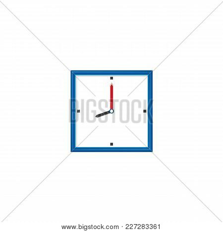 Vector Flat Analog Wall Mounted Simple Modern Square White Colored Clock With Blue Frame Icon For Yo