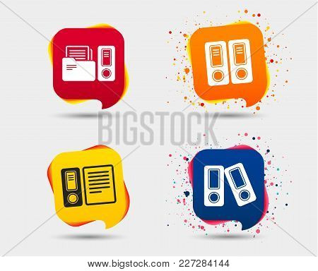 Accounting Icons. Document Storage In Folders Sign Symbols. Speech Bubbles Or Chat Symbols. Colored