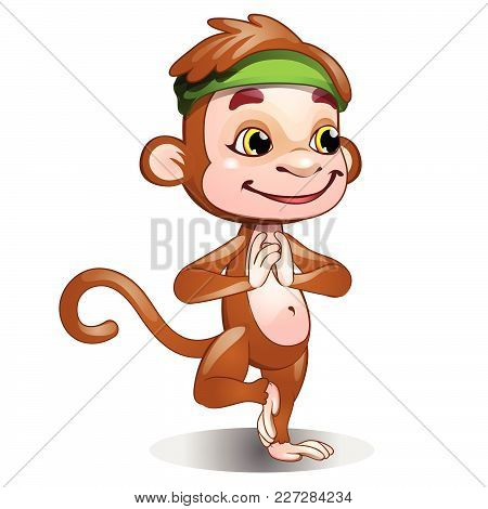 Cheerful Monkey Is Engaged In Wushu. Vector.