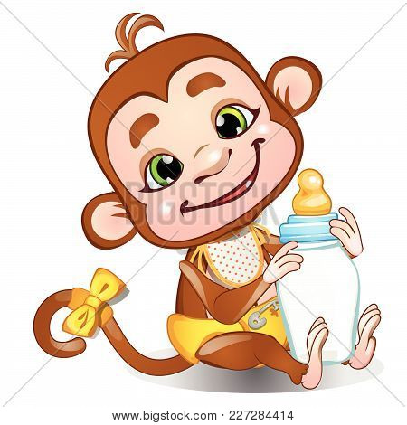 A Fun Monkey And A Bottle Of Milk. Vector.