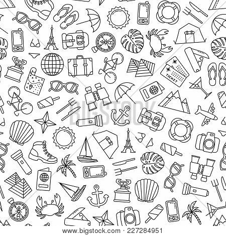 Seamless Pattern With Traveling Icons On White Background