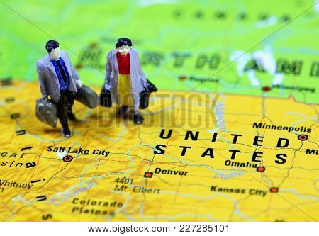 People Traveling To North America, U S A