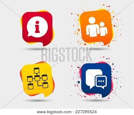 Information Sign. Group Of People And Database Symbols. Chat Speech Bubbles Sign. Communication Icon