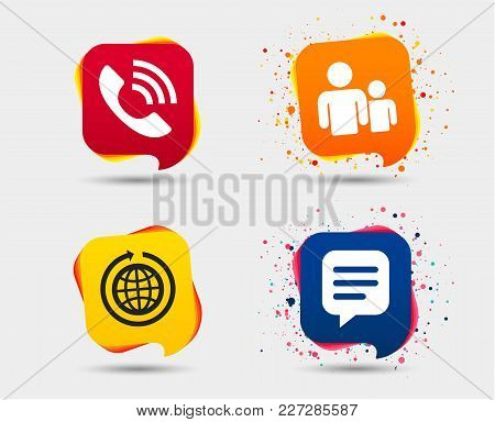 Group Of People And Share Icons. Speech Bubble And Round The World Arrow Symbols. Communication Sign