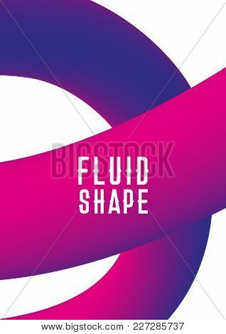 Plastic Shape. Modern Abstract Cover. Liquid Fluid Shape Cover Design. Ultra Violet Purple Colors. C