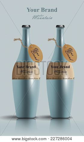 Realistic Water Bottles Vector. Product Packaging Label Design