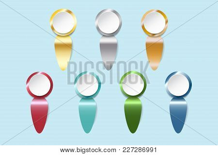 Infograph Of White Circles Ready For Your Text With Golden, Silver, Bronzed And Colorful Metal Label